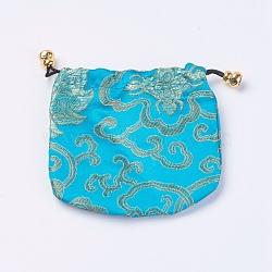 Pochettes en soie, sac de cordon, bleu foncé, 10.5~11.5x11~11.5 cm(X-ABAG-WH0006-04)
