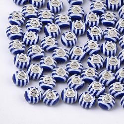 résine perles européennes, grandes perles de trou, en laiton de tonalité de platine noyaux doubles, rondelle, bleu, 14x8 mm, trou: 5 mm(RPDL-T002-05)
