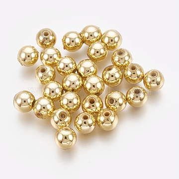 ABS Plastic Beads, Environmental Electroplated Beads, Round, Golden Plated, 7.5~8mm, Hole: 2mm(X-KY-G007-8mm-G)