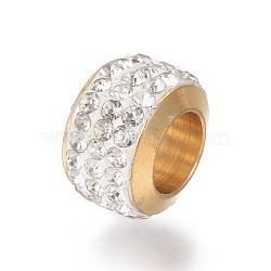 304 billes d'acier inoxydable, avec argile polymère strass, grandes perles de trou, colonne, or, cristal, 11x7.5 mm, trou: 6 mm(STAS-E477-09D-G)