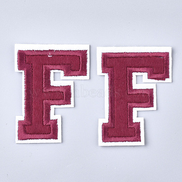 Computerized Embroidery Cloth Iron On Patches, Costume Accessories, Appliques, Letter, Letter.F, 57x42.5x1.5mm(X-FIND-T030-064-F)