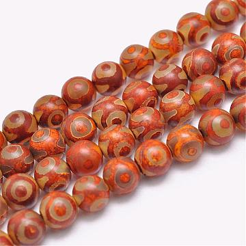 Natural Tibetan 3-Eye dZi Agate Beads Strands, Round, Dyed & Heated, Orange, 8mm, Hole: 1.2mm; about 47pcs/strand, 15inches(G-F354-11)