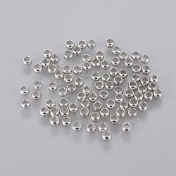 laiton perles à écraser, fabrication de bijoux en perles, rondelle, platine, 3 mm, trou: 2 mm; environ 320 pcs / 10 g(X-J0JMP062)