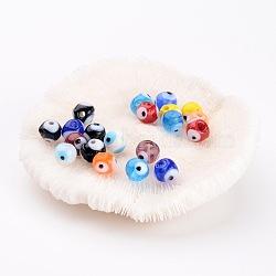 Perles vernissées manuelles, mauvais œil, couleur mixte, 8mm, Trou: 2mm(X-DT250J)