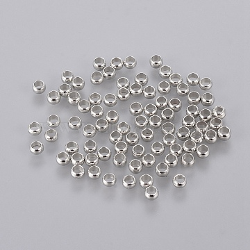Brass Crimp Beads, Beads Jewelry Making Findings, Rondelle, Platinum, 3mm, hole: 2mm; about 320pcs/10g (X-J0JMP062)