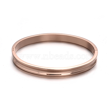 Fashionable Unisex 304 Stainless Steel Bangles, Rose Gold, 53X64mm(BJEW-L552-02B-8mm)