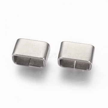304 Stainless Steel Slide Charms, Rectangle, Stainless Steel Color, 6x10x5.5mm, Hole: 4x8.5mm(X-STAS-G187-30P)