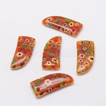 Handmade Millefiori Glass Pendants, Goldenrod, 29x13x5mm, Hole: 2mm(LAMP-G120-01)