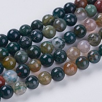 Natural Indian Agate Beads Strands, Round, 6mm, Hole: 1mm, about 30pcs/strand, 7.6 inches