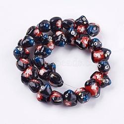 Perles en porcelaine manuelles, ornement d'or, animaux, noir, 11~13x17~18x10~12mm, Trou: 2mm(PORC-G002-50)