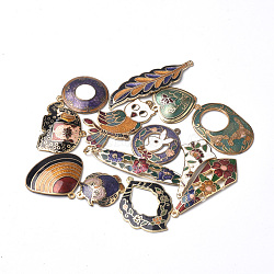 Handmade Cloisonne Pendants, Mixed Shapes, Mixed Color, 25~55x11~33x1~3mm, Hole: 1~3mm(CLB-S006-18)