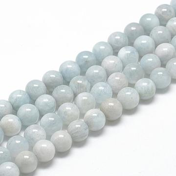 Natural Aquamarine Beads Strands, Grade AB, Round, 6~7mm, Hole: 1mm; about 60~67pcs/strand, 15.7inches(G-R446-6mm-04)
