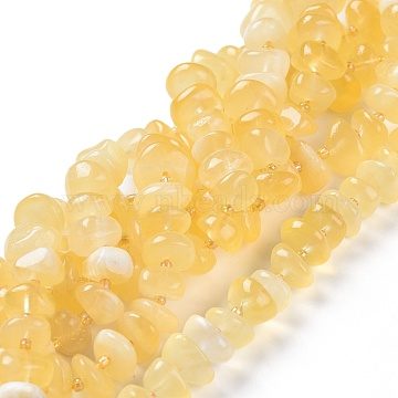 Natural Honey Calcite Beads Strands, Nuggets, 9~12x9~12x5~6mm, Hole: 1mm, about 61pcs/strand, 15.94 inches(40.5cm)(G-L505-37)