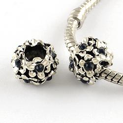 Argent antique alliage plaqué strass fleur grand trou perles européennes, jet, 11x8mm, Trou: 5mm(X-MPDL-R041-04F)