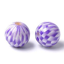Perles acryliques imprimées, rond avec motif tartan, blueviolet, 14x13.5mm, Trou: 2.5mm(MACR-T024-55B)