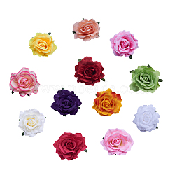 Cloth Flower Alligator Hair Clips, with Iron Alligator Clips, Mixed Color, 110mm, 12pcs/set(PHAR-NB0001-03)