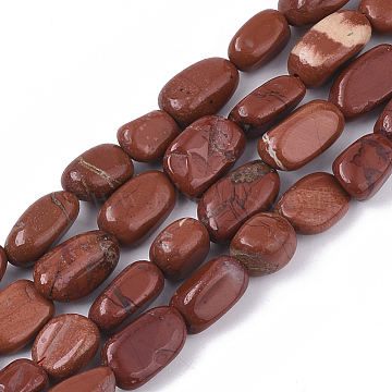Natural Red Jasper Beads Strands, Rice, 7~15x5~8x4~8mm, Hole: 1mm, about  35~45pcs/Strand, 15.35~16.14''(39~41cm)(G-S363-013)