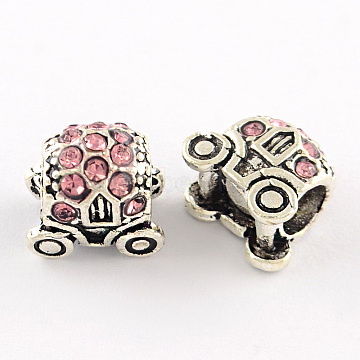 Carriage Antique Silver Plated Alloy Rhinestone European Beads, Large Hole Beads, Light Rose, 12x11x9mm, Hole: 5mm(ALRI-Q227-08B)