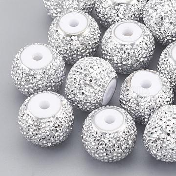 Resin Rhinestone Beads, Rondelle, White, 11.5~12x9mm, Hole: 2mm(RESI-T020-02D-03)
