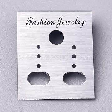 Plastic Jewelry Display Cards, for Hanging Earring Display, Rectangle, Silver, 36x30x7mm, Hole: 1.4mm and 6mm, 100sheets/bag(DIY-K032-17A)