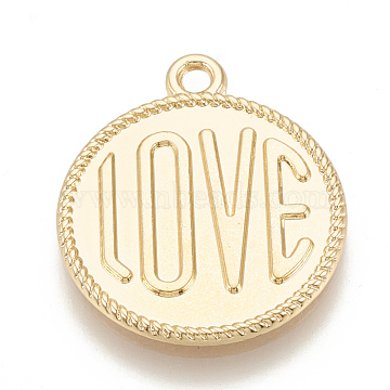 Alloy Pendants Enamel Settings, Flat Round with Love, Golden, 23x20x1.5mm, Hole: 1.5mm(PALLOY-T047-22G)