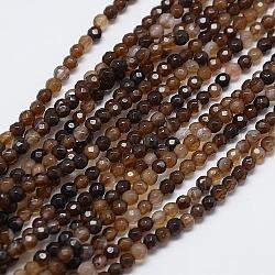 """Chapelet de perles rondes en agate naturelle, teint, facette, chameau, 4mm, trou: 0.9mm; environ 92 pcs/chapelet, 14.5""""(X-G-L084-4mm-05)"""