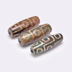 Perles de style tibétain, Perles d'agate naturelles, teints et chauffée, riz, darkolivegreen, 39~40x13~14mm, Trou: 2.5~3mm(TDZI-G009-B35)