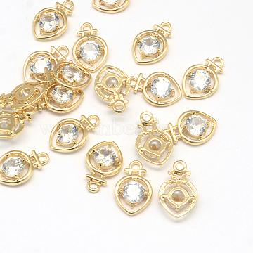 Light Gold Clear Heart Alloy+Cubic Zirconia Pendants