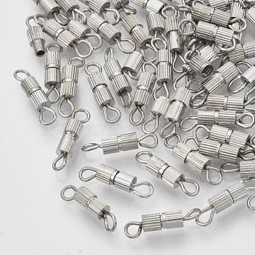 Iron Screw Clasps, Platinum, 14x3mm, Hole: 1.8mm(IFIN-T007-30P)