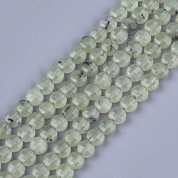 Natural Prehnite Beads Strands, Faceted, Flat Round, 6~6.5x3.5mm, Hole: 0.8mm; about 59~60pcs/strand, 14.9''~15.1''(G-S354-29)