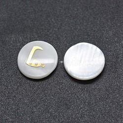 cabochons coquille, avec de la résine, plat rond avec alphabet arabe, blanc, 9.5~10x1.5~2.5 mm(SSHEL-E568-A07)