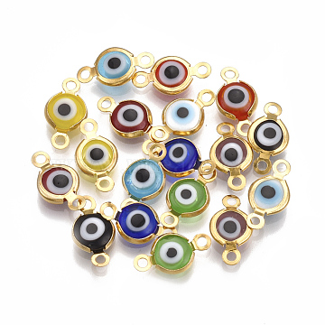Handmade Evil Eye Lampwork Links connectors, with 304 Stainless Steel Findings, Flat Round, Golden, 12.5x7x2.5mm, Hole: 1.5mm(X-STAS-T041-02G)