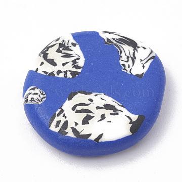 Handmade Polymer Clay Cabochons, Flat Round, Medium Blue, 19~23x5~6mm(X-CLAY-N001-02C)