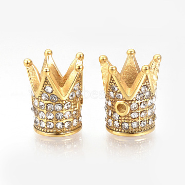 304 Stainless Steel Beads, with Rhinestones, Crown, Golden, 12x10mm, Hole: 1mm(STAS-Q220-07G)