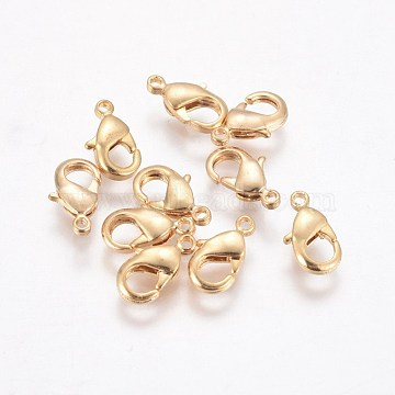 Brass Lobster Claw Clasps, Real 18K Gold Plated, 10x6x2.5mm, Hole: 1mm(KK-WH0030-01G)