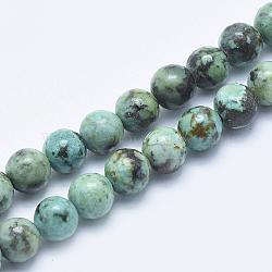 naturelles africaines turquoise perles brins, arrondir, 6 mm, trou: 1 mm; environ 61 perle / brin, 15.5 (39.5 cm)(G-E444-47-6mm)