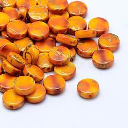 Perles acryliques d'effilage, peint à la bombe, plat rond, verge d'or, 9x3.5mm, trou: 1 mm; environ 2500 pcs / 500 g(MACR-K331-19I)