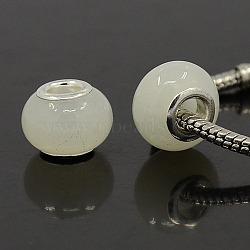 Blanc chalumeau à la main européennes de grandes perles de trou pour la fabrication de bijoux, avec ame en laiton plaqué argent, rondelle, environ 14 mm de large, Longueur 10mm, Trou: 5mm(X-DA379-02)