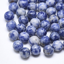 Natural Blue Spot Stone Beads, Half Drilled, Round, 8mm, Half Hole: 1.2mm(X-G-T122-25A-13)