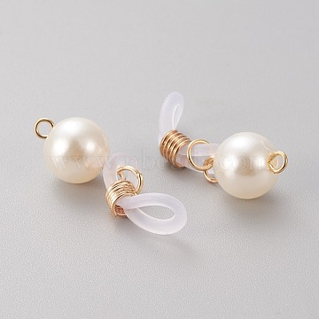 Silicone EyeGlass Holders, with Brass Findings & ABS Plastic Imitation Pearl Beads, Light Gold, 33mm(X-KK-Q766-02LG)