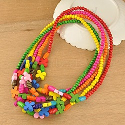 Colorful Wood Necklaces for Kids, Children's Day Gifts, Stretchy, Mixed Color, 18inches(NJEW-JN00308)