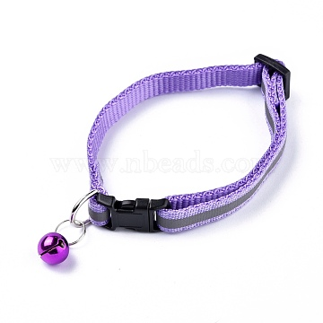 Adjustable Polyester Reflective Dog/Cat Collar, Pet Supplies, with Iron Bell and Polypropylene(PP) Buckle, Lilac, 21.5~35x1cm; Fit For 19~32cm Neck Circumference(MP-K001-A12)
