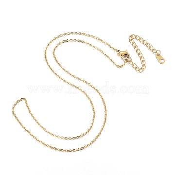 304 Stainless Steel Necklaces, Cable Chain Necklaces, Golden, 16.14inches(41cm)(X-NJEW-E080-13G)