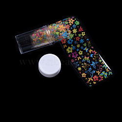 Transfer Foil Nail Art Sticker For Nail Tips Decorations, Flower & Butterfly Pattern, Colorful, 50x4cm(X-MRMJ-Q096-07)