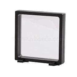 Supports de cadre en plastique, avec membrane transprent, Pour la bague, pendentif, affichage de bijoux de bracelet, rectangle, noir, 11x11.5x3.5 cm(ODIS-N010-04A)