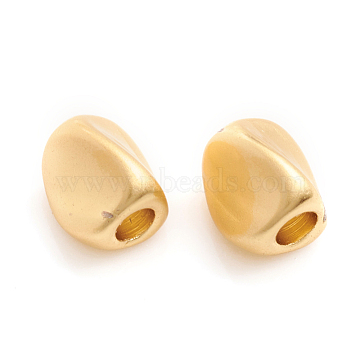 Matte Style Brass Beads, Long-Lasting Plated, Twist, Real 14K Gold Plated, 5x4x4mm, Hole: 1.6mm(X-KK-L155-20MG)