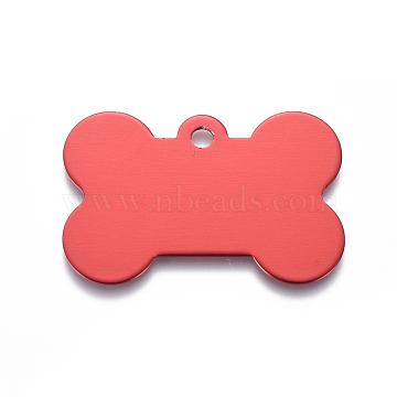 Pendentifs d'animal de compagnie en aluminium, estampillage d'une étiquette vierge, os, rouge, 25x38x1mm, Trou: 3mm(ALUM-I002-06D)