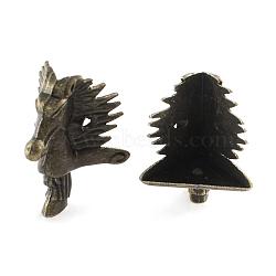 Dragon Alloy Box Corner Protectors, Antique Bronze, 23x23x39mm, Hole: 2mm(IFIN-R203-26AB)