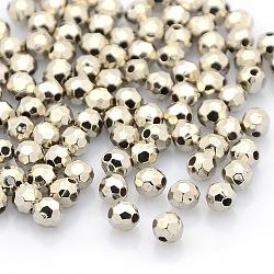 Séparateur perles en plastique CCB, ronde à facettes, platine, 3.5mm, Trou: 1mm(CCB-J029-91P)
