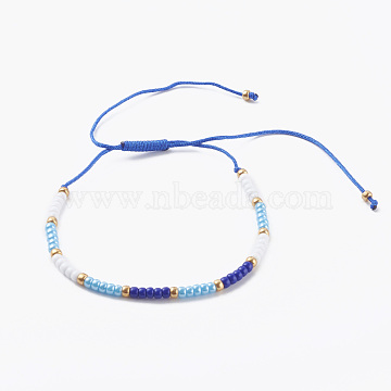 Adjustable Nylon Thread Braided Bead Bracelets, with Round Glass Seed Beads, Blue, Inner Diameter: 1-5/8~4 inch(4~10cm)(BJEW-JB06160-05)